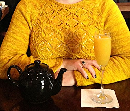 Yellow sweater at brunch